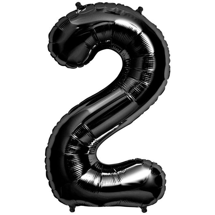 """Balão Foil 34 """"nº 2 Preto"""