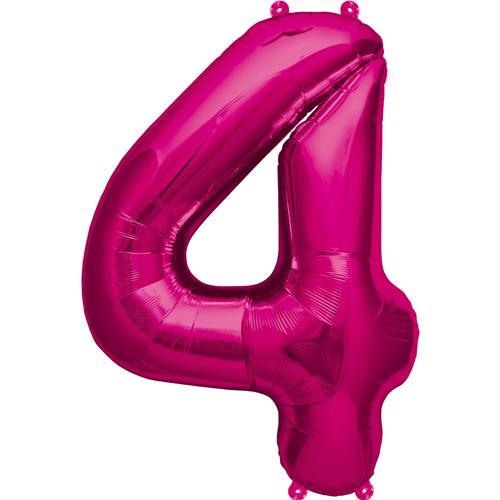 """Balão Foil 34 """"nº 4 Fucsia"""
