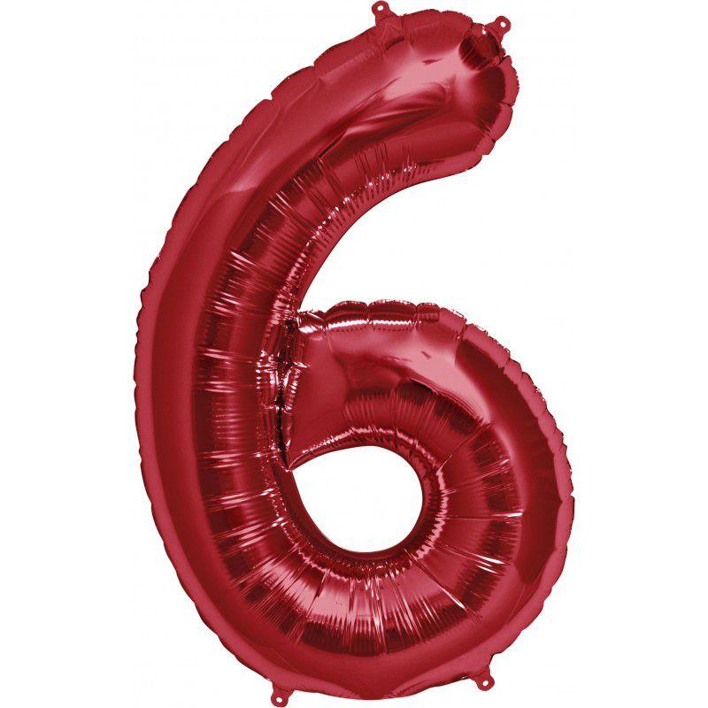 """Balão Foil 34 """"nº 6 Vermelho"""