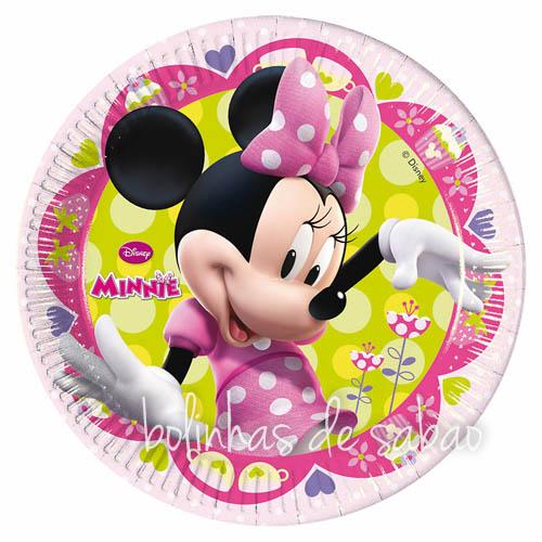Pratos Disney 23 cm 8 unidades - Minnie Rosa e Verde