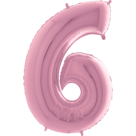 """Balão Foil 40 """"nº 6 Rosa Bebé"""