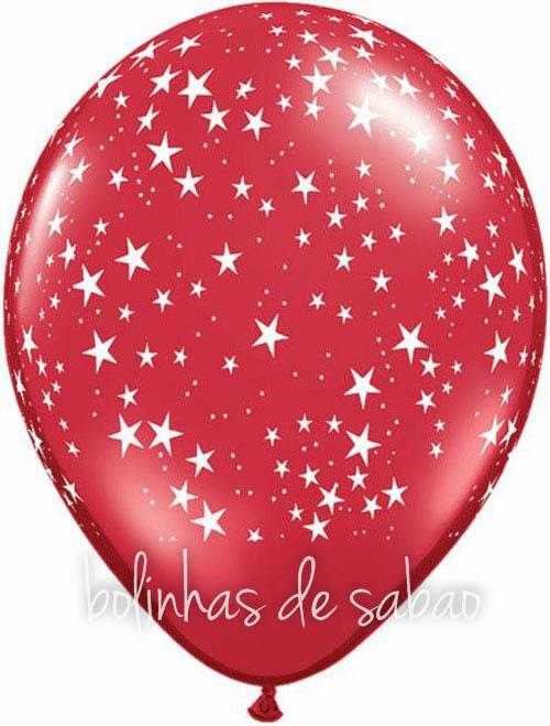Balões Estrelinhas 5 unidades - Vermelho