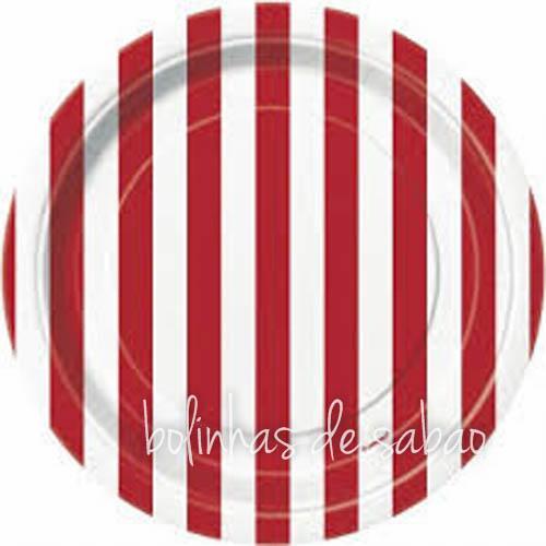 Pratos Riscas 8 unidades 18cm - Vermelho