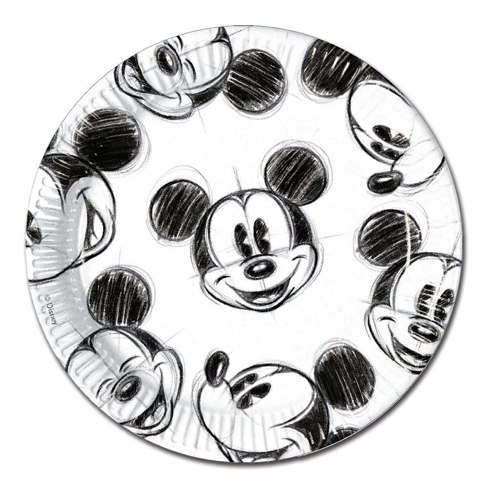 Pratos Mickey Black and White- 23 cm