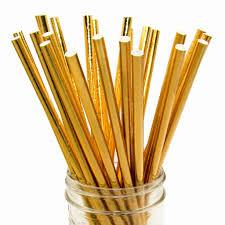 Palhas 25 unidades - Lisas Dourado