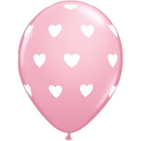 Balões Corações  Rosa-  5 unidades