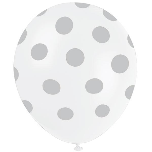 Balões Bolinhas 6 unidades - Branco e Prateado