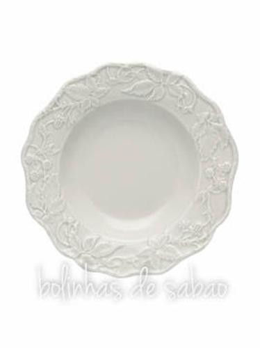 Prato Sopa 24 cm - Alcachofra e Pássaros - Cinza Areia