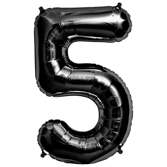 """Balão Foil 34 """"nº 5 Preto"""