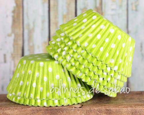 Cupcakes Bolas 60 unidades - Verde-Lima