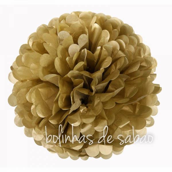 Pompom de Papel 36 cm - Dourado