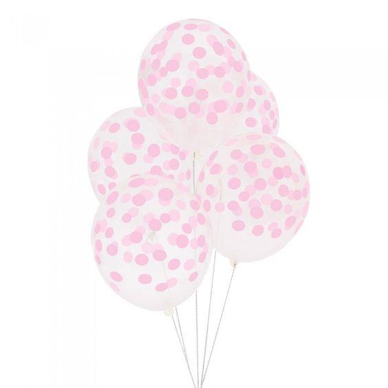 Balões Bolinhas 10 unidades - Transparente Bolas Rosa