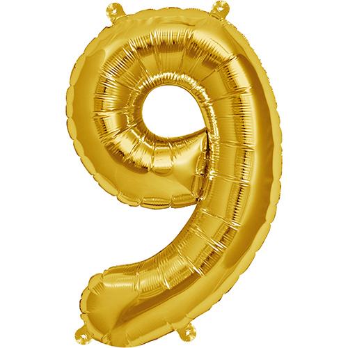 """Balão Foil 34 """"nº 9 Dourado"""