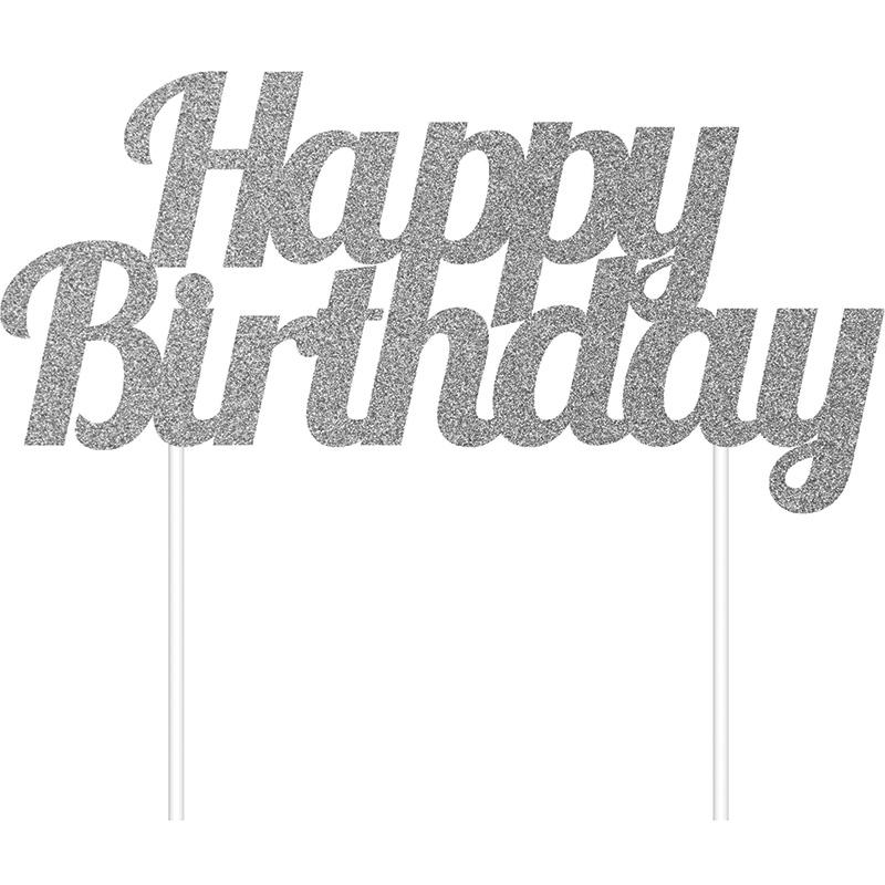 Topo de Bolo Glitter Happy Birthday - Prateado