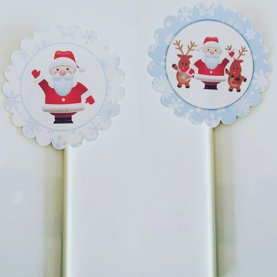 Toppers Natal Neve- 5 unidades