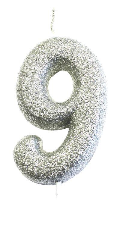 Vela Glitter Prata nº9