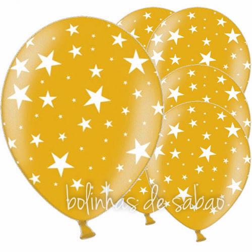 Balões Estrelinhas 5 unidades - Amarelo