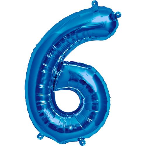 """Balão Foil 34 """"nº 6 Azul"""