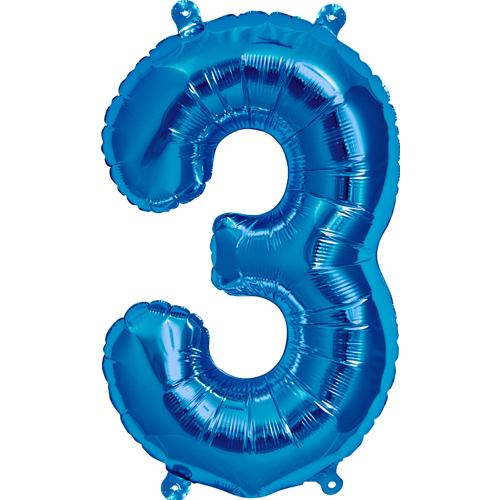 """Balão Foil 34 """"nº 3 Azul"""