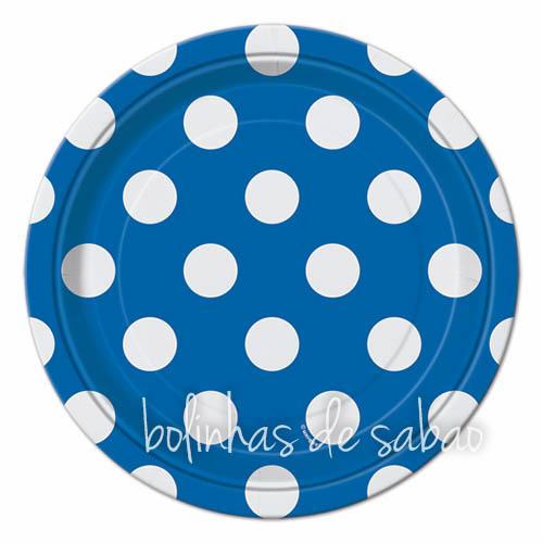Pratos Bolas 18cm 8 unidades - Azul Escuro