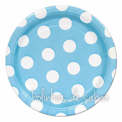 Pratos Bolas 18cm 8unidades - Azul Bebé