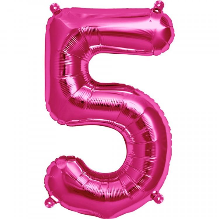 """Balão Foil 34 """"nº 5 Fucsia"""