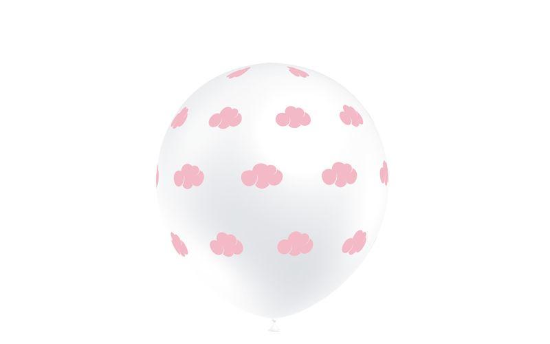 """10 Balões Impressos """"Nuvens Rosa"""""""