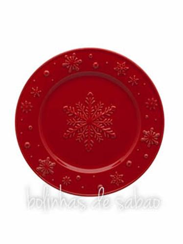 Prato Fruta Snowflakes 22cm - Vermelho