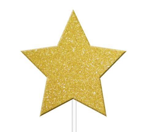 Toppers Estrelas Dourado Glitter- 12 unidades