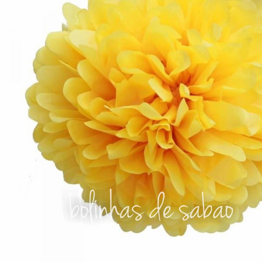 Pompom de Papel 36 cm - Amarelo