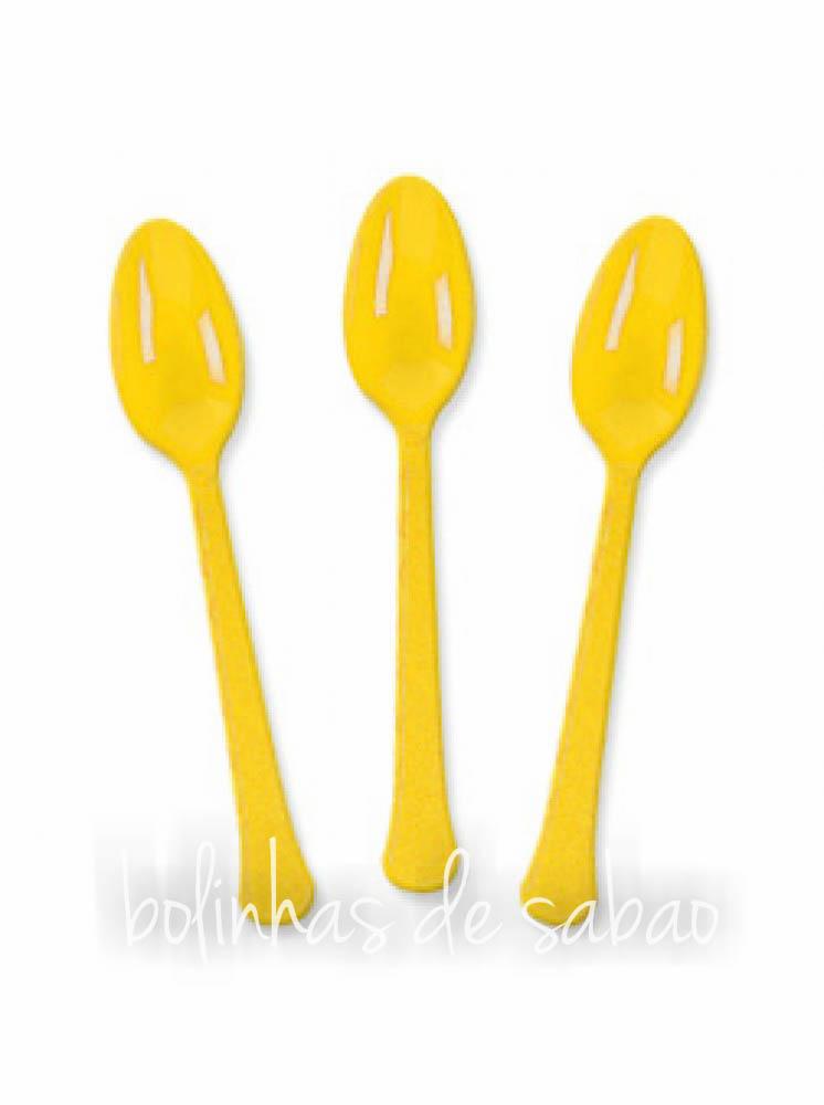Colheres Plástico 8 unidades - Amarelo