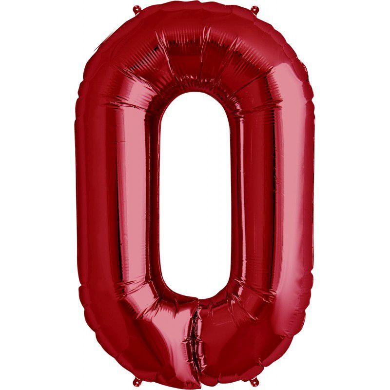 """Balão Foil 34 """"nº 0 Vermelho"""