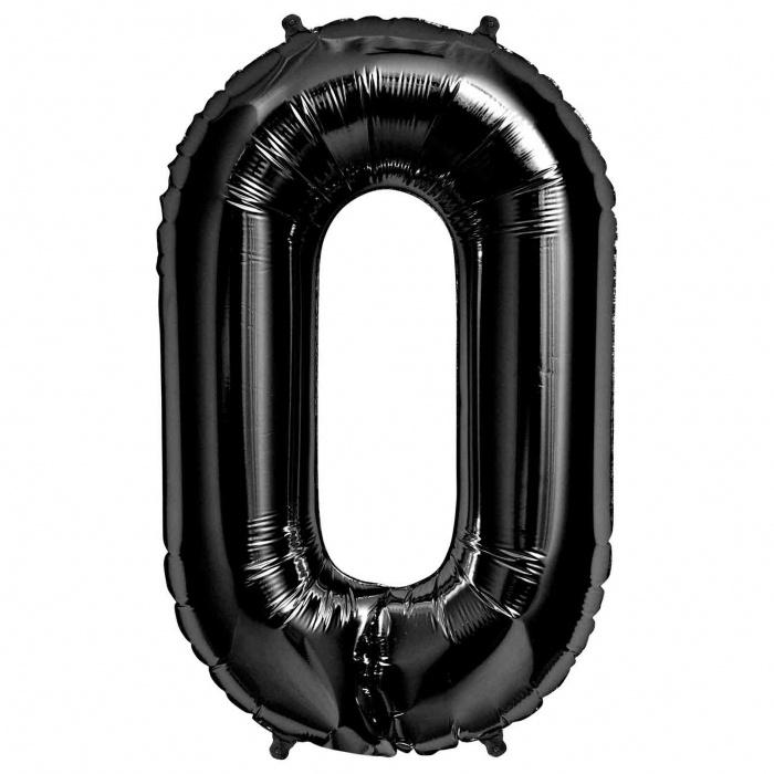 """Balão Foil 34 """"nº 0 Preto"""