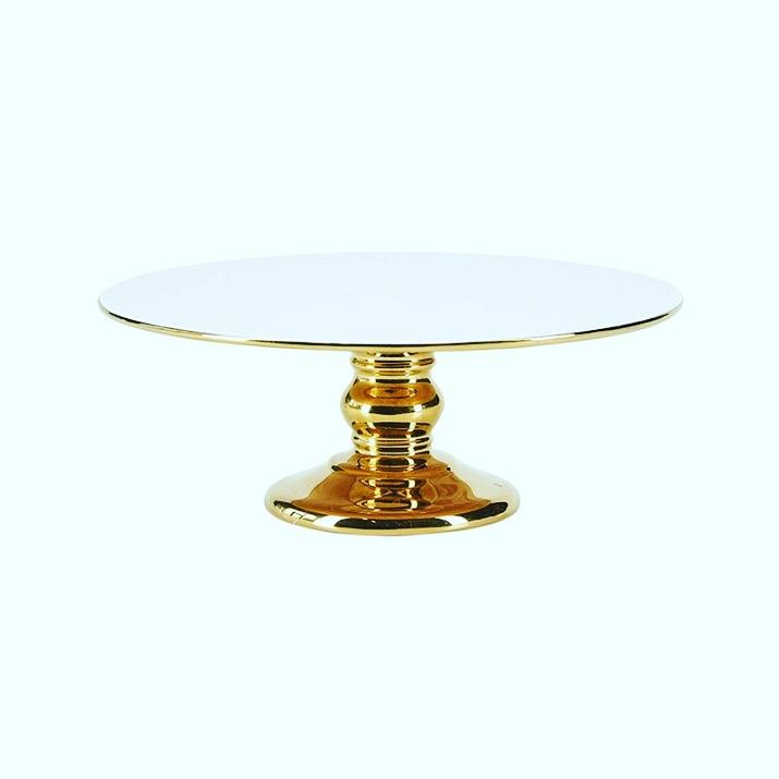 Cake Stand Cerâmica Dourado e Branco  20 CM - Miss Etoile