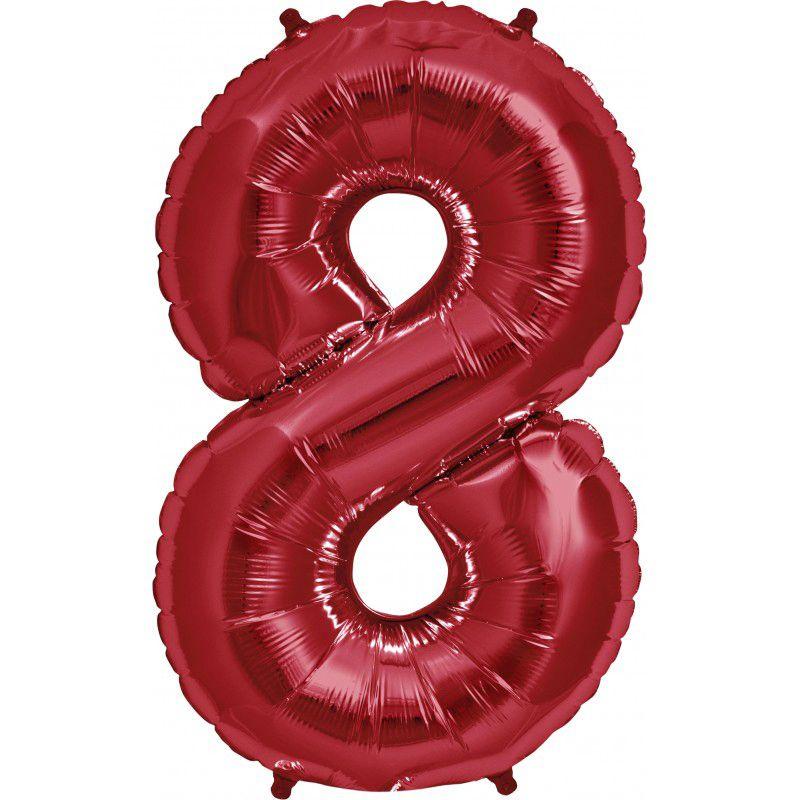 """Balão Foil 34 """"nº 8 Vermelho"""