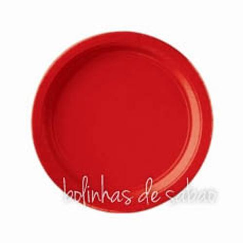 Pratos Lisos 23cm 8 unidades - Vermelho