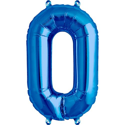 """Balão Foil 34 """"nº 0 Azul"""
