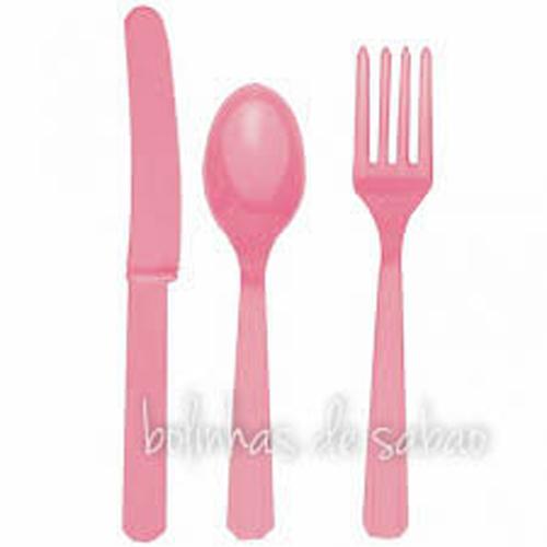Garfos Plástico 8 unidades - Rosa