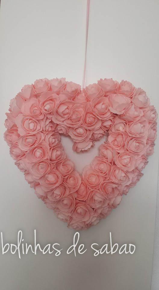 Coroa Coração Flores Rosa