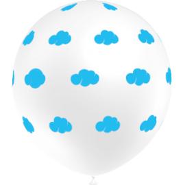 Balões Nuvens 5 unidades - Branco e Azul
