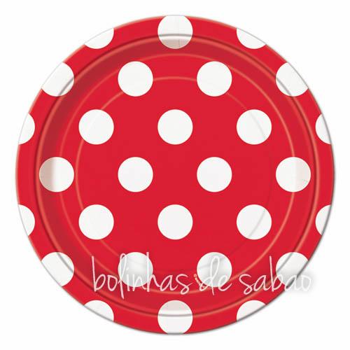 Pratos Bolas 18cm 8 unidades - Vermelho