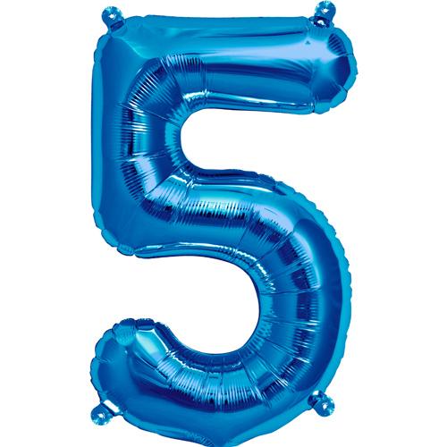 """Balão Foil 34 """"nº 5 Azul"""