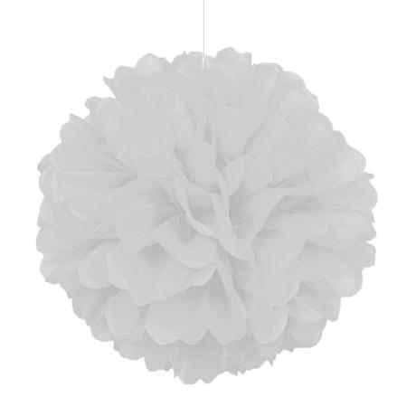 Pompom de Papel 30 cm - Branco