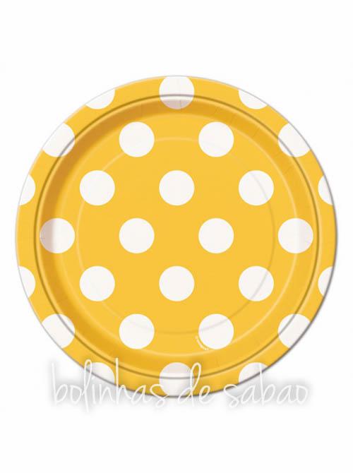 Pratos Bolas 18cm 8 unidades - Amarelo