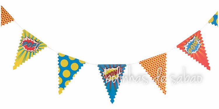 Bandeiras Super Heróis - Triângulos