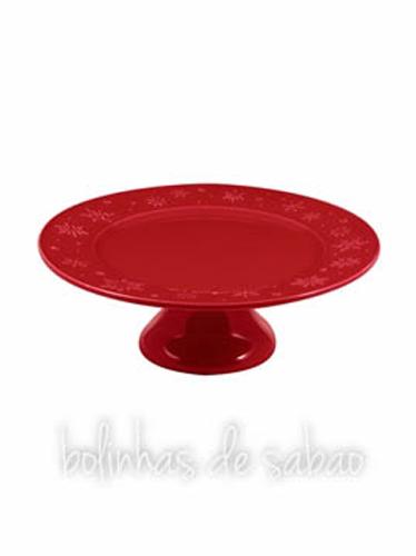 Prato Snowflakes 33.5cm - Vermelho