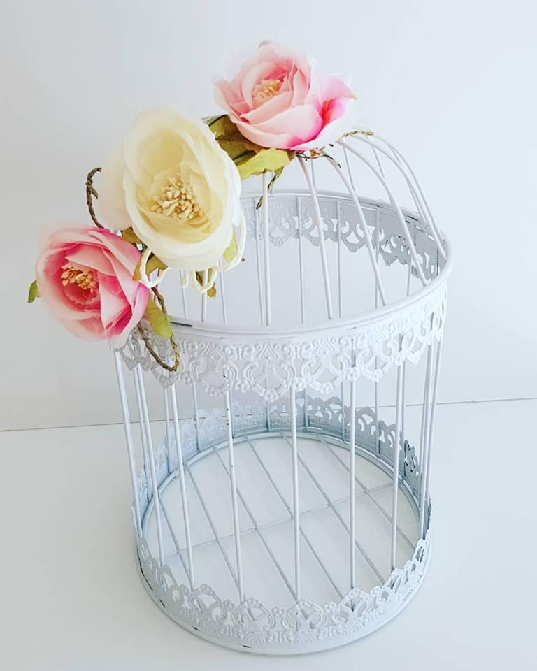 Gaiola Decorativa Metal  Branca Flores - 41 cm