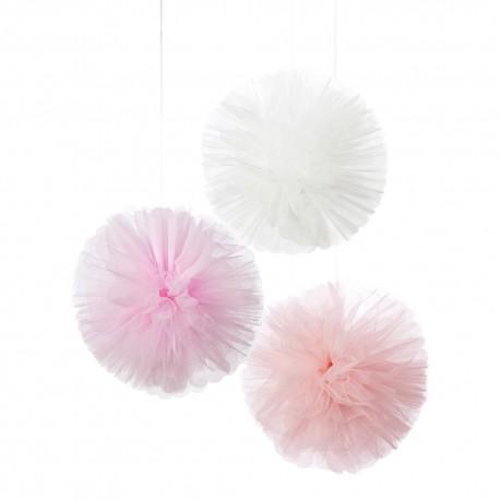 3 Pompons em Tule - Rosa e Branco