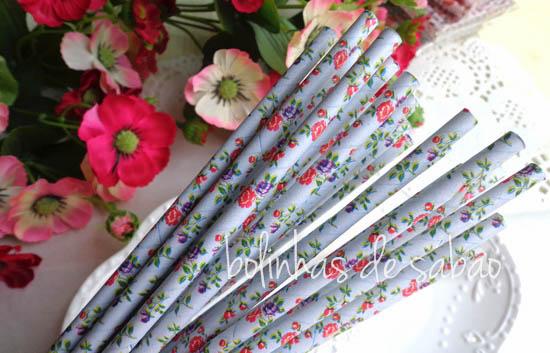 Palhas 25 unidades - Flores Laranja
