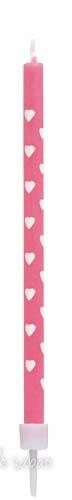 Velas Corações Rosa 12 unidades - 10 cm